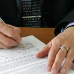 Attorney preparing a legal document