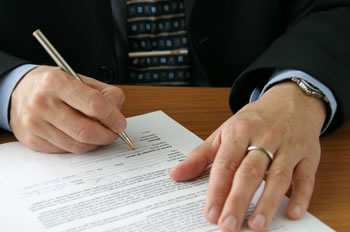 Attorney preparing a legal document