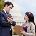 Parent speaking with lawmaker