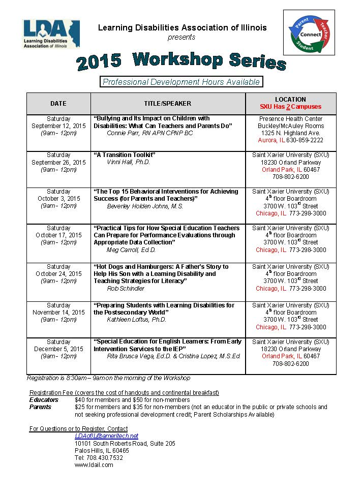 LDA 2015 fall workshops-as of March 25 2015